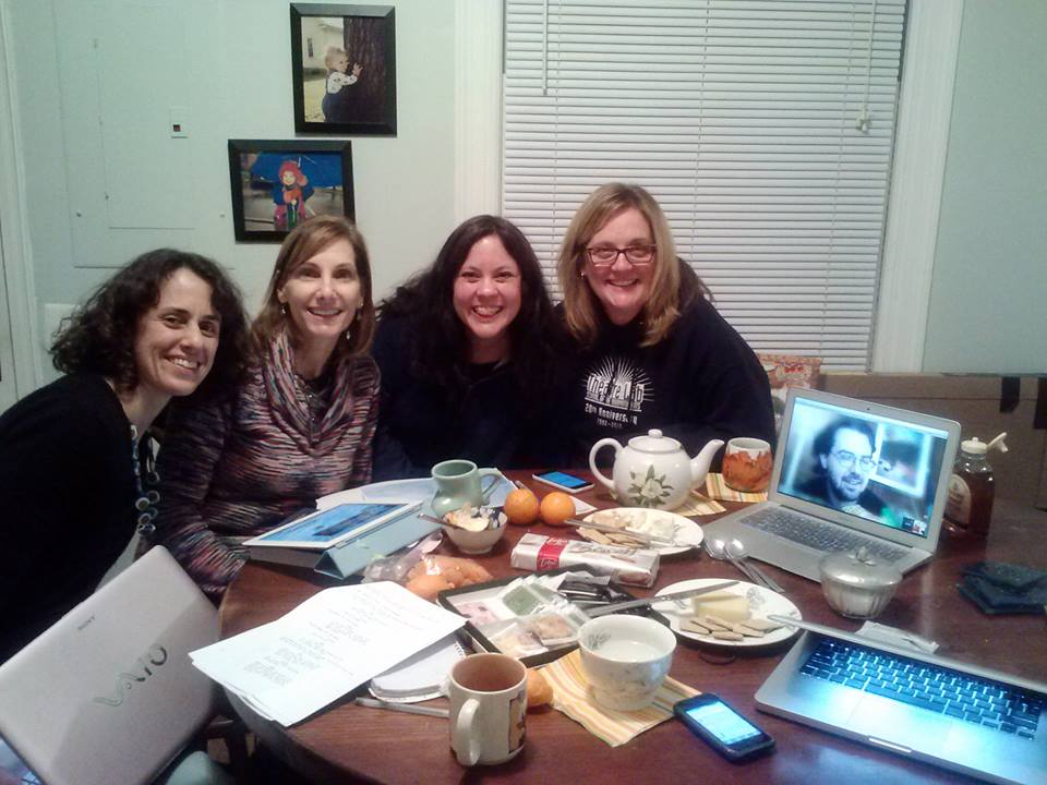 Facebook Caption: By happy coincidence, the final minutes of the Indie Reign competition last night took place during a producers' meeting, so we got to celebrate together. Thanks so much for voting! — with Writer/Director/Producer Shoshana Rosenbaum, Co-producer Robin Noonan-Price, Co-Producer Victoria Buksbazen, Production Assistant Alison Bauer and DP/Co-producer Aaron Shirley.