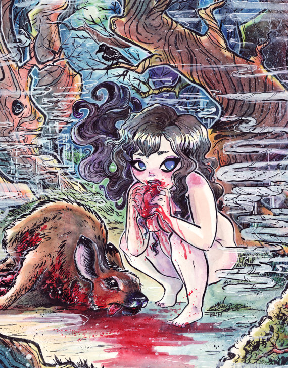 Mature Original Art MEAT 2.0 - Snow White Eats Bambi - Murder Tales