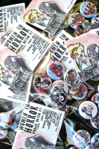 "Women of Horror 1"" Pinback Button Set of 5 - Carrie White Rosemary's Baby Nightmare on Elm Street Friday the 13th Texas Chainsaw Massacre"